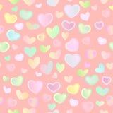 Naadloze heldere feestelijke achtergrond met multi-colored harten Royalty-vrije Stock Fotografie