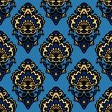 Naadloze het gekletsvector van de damast blauwe bloem Royalty-vrije Stock Foto