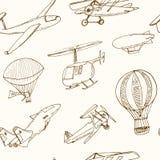 Naadloze het patroon Uitstekende illustratie van de krabbelluchtvaart voor identiteit, ontwerp Stock Afbeelding
