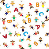 Naadloze het patroon van de kinderenschool Stock Afbeelding