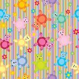 Naadloze het patroon van strepen en van beren Stock Foto