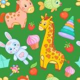 Naadloze het patroon vector dierlijke achtergrond van het babyspeelgoed Stock Foto