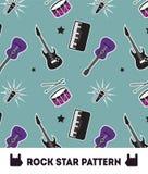 Naadloze het Patroon Vectorachtergrond van de rockster Stock Foto's