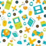 Naadloze het patroon vlakke stijl van het videospelletjecontrolemechanisme gamepads Royalty-vrije Stock Foto's