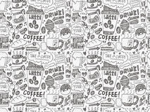 Naadloze het patroonachtergrond van de krabbelkoffie Royalty-vrije Stock Foto
