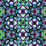 Naadloze het patroonachtergrond van de mozaïekcaleidoscoop - donker die hoogtepunt met zwarte pleister wordt gekleurd Stock Foto