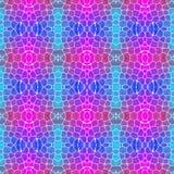 Naadloze het patroonachtergrond van de mozaïekcaleidoscoop - kleurde het neon blauwe cyaan hete roze magenta met witte pleister stock illustratie