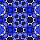 Naadloze het patroonachtergrond van de mozaïekcaleidoscoop - het saffierblauw kleurde met donkere purpere pleister Royalty-vrije Stock Foto's