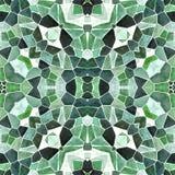 Naadloze het patroonachtergrond van de mozaïekcaleidoscoop - smaragdgroen gekleurd met witte pleister Stock Foto