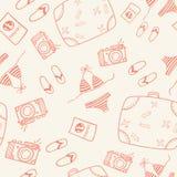 Naadloze het patroonachtergrond van de reiskrabbel Stock Foto