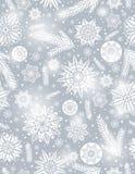Naadloze het patroonachtergrond van Grey Christmas met sneeuwvlokken stock illustratie