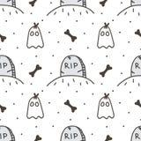 Naadloze het patroonachtergrond van griezelig Halloween met grafsteen en leuk spook Royalty-vrije Stock Fotografie