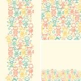 Naadloze het patroonachtergrond van krabbel gelukkige kinderen Royalty-vrije Stock Afbeeldingen