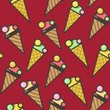 Naadloze het patroonachtergrond van roomijskegels, kleurrijke illustratie royalty-vrije illustratie