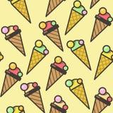 Naadloze het patroonachtergrond van roomijskegels, kleurrijke illustratie Vector eps10 vector illustratie
