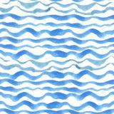 Naadloze het patroonreeks van waterverfstroken Blauwe cyaan stock illustratie