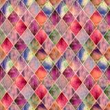 Naadloze het patroontextuur van de Argyle geometrische abstracte waterverf royalty-vrije stock foto's