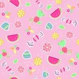 Naadloze het suikergoed herhaalt de Vector van het Patroon Royalty-vrije Stock Afbeelding