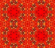 Naadloze hexagon patroon rode geeloranje Stock Foto