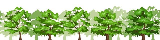 Naadloze horizontale achtergrond met bomen. Stock Afbeeldingen