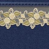 Naadloze horizontale denimachtergrond met kant bloemenband stock illustratie