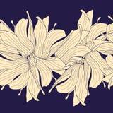 Naadloze horizontale die grens van bloemen wordt gemaakt Royalty-vrije Stock Afbeelding