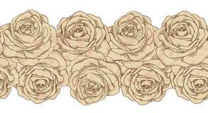 Naadloze horizontale elementenkaders en oude rozen vuil in vlekken. uitstekende stijl Royalty-vrije Stock Fotografie