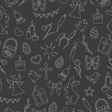 Naadloze illustratie met eenvoudige contourpictogrammen op het thema van de Pasen-vakantie, heldere contouren op een donkere acht Royalty-vrije Stock Foto