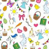Naadloze illustratie met eenvoudige pictogrammen op een thema de vakantie van Pasen, gekleurde pictogrammen op witte achtergrond Stock Afbeeldingen