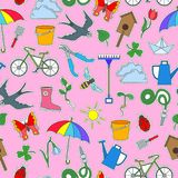 Naadloze illustratie met eenvoudige pictogrammen op een thema van de lente, gekleurde flardpictogrammen op een roze achtergrond Stock Foto