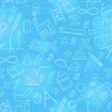 Naadloze illustratie met eenvoudige pictogrammen op het thema van wiskunde en het leren, helder overzicht op een blauwe achtergro stock illustratie