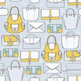 Naadloze illustratie met leuke gele en grijze handtassen en koppelingen in manier modieus patroon Hand getrokken achtergrond, Dr. vector illustratie