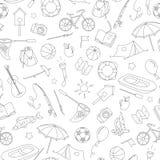 Naadloze illustratie op het thema van de zomerkamp en vakanties, eenvoudige contourpictogrammen, zwarte contour op witte achtergr vector illustratie