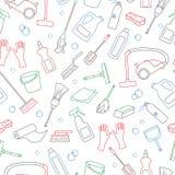 Naadloze illustratie op het thema van het schoonmaken en huishoudenmateriaal en schoonmakende producten, eenvoudige gekleurde con stock illustratie