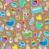 Naadloze illustratie op het thema van kinderjaren en pasgeboren babys, babytoebehoren en speelgoed, de eenvoudige pictogrammen va stock illustratie