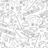 Naadloze illustratie op het thema van wintersporten, eenvoudige contourpictogrammen op balachtergrond Stock Afbeelding