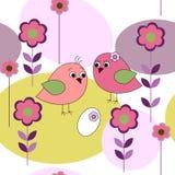 Naadloze kaart met vogels en bloemen Stock Foto's