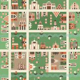 Naadloze kaart van stad in vector Royalty-vrije Stock Afbeelding