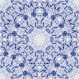 Naadloze kantachtergrond met bloemen en bladeren in blauwe tonen van de cirkelornamenten stock illustratie