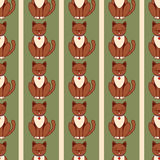 Naadloze katten vectortekening als achtergrond Royalty-vrije Stock Foto