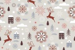 Naadloze Kerstmis en van het nieuwe jaar patroon stock foto's