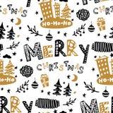 Naadloze Kerstmis patroon-diverse Kerstbomen, het van letters voorzien, giften, ballen, kegels Vectorontwerp voor de de wintervak stock illustratie