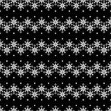 Naadloze Kerstmis zwart-witte achtergrond met decoratieve sneeuwvlokken en bomen Royalty-vrije Illustratie