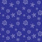 Naadloze Kerstmisachtergrond met sneeuwvlokken en sneeuw Stock Fotografie