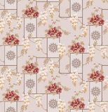 Naadloze klassieke monobloem met geometrische ornamentachtergrond stock illustratie