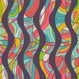 Naadloze kleurrijke achtergrond met golvende die lijnen met overladen worden gevuld Stock Fotografie