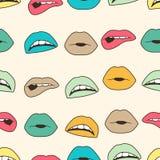 Naadloze kleurrijke achtergrond met lippen Stock Foto's