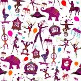 Naadloze kleurrijke circuskarakters Stock Afbeeldingen