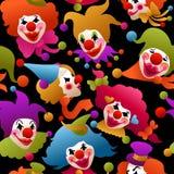 Naadloze kleurrijke clownportretten Stock Fotografie