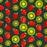 Naadloze kleurrijke die achtergrond van aardbei en kiwi in vlakte wordt gemaakt stock illustratie